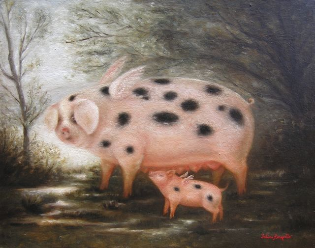 Winged Sow and Piglet