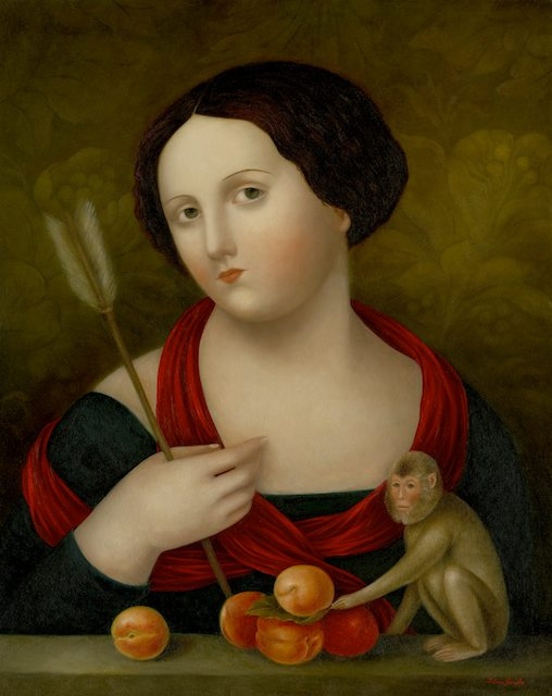 """Lady with Arrow, Apricots and Small Monkey"""""""