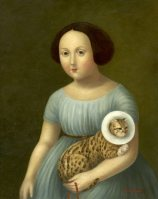 Girl with Injured Cat ●