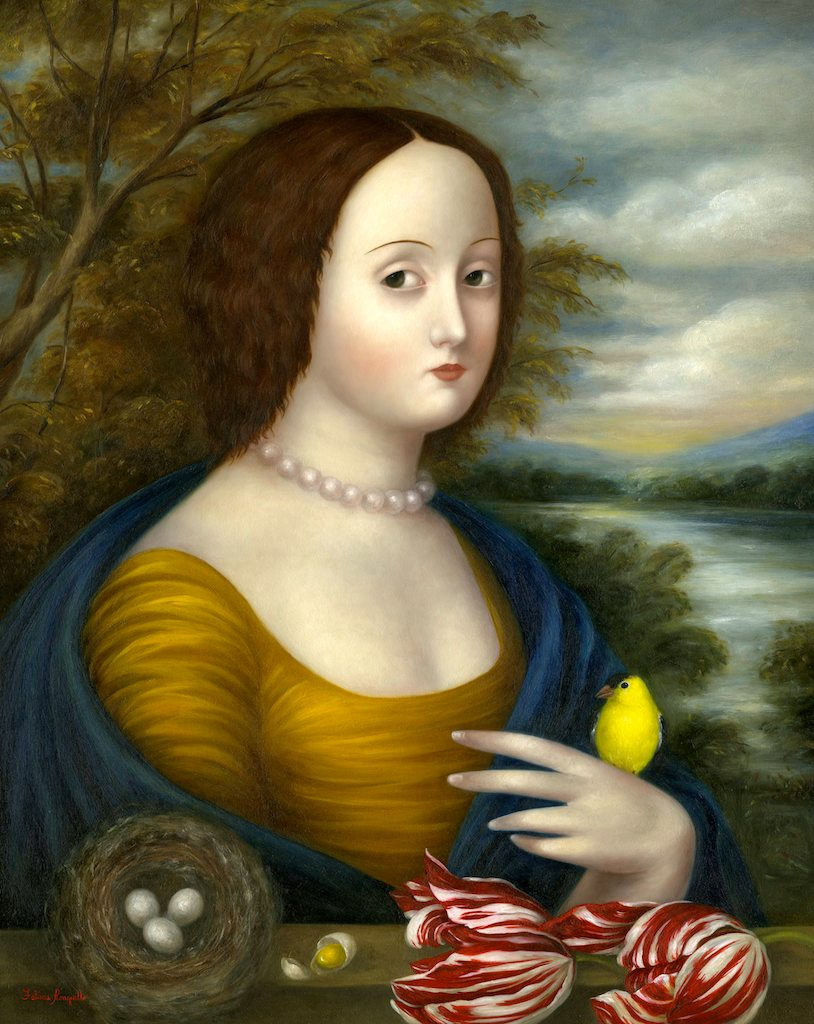 Lady with Finch, Nest and Tulips ●