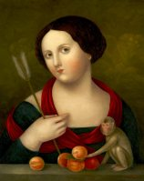 Lady with Arrow, Apricots and Small Monkey ●