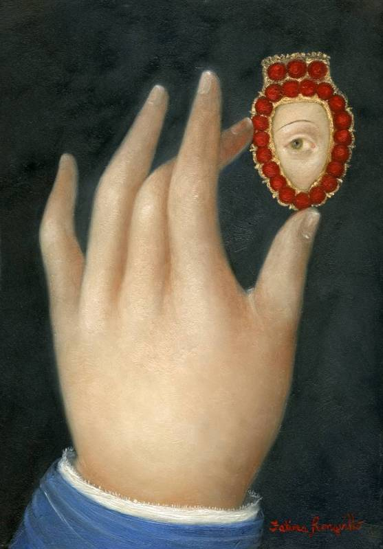 Hand with Lover's Eye in Coral Heart
