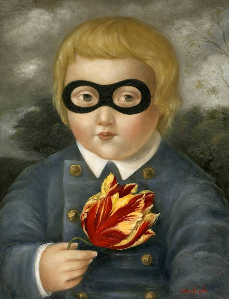 Masked Child with Tulip