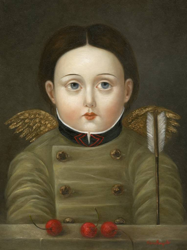 Girl with Wings, Arrow and Cherries