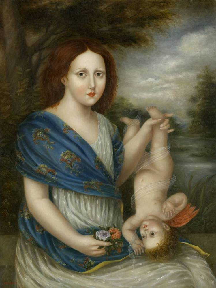 Young Woman with Cupid