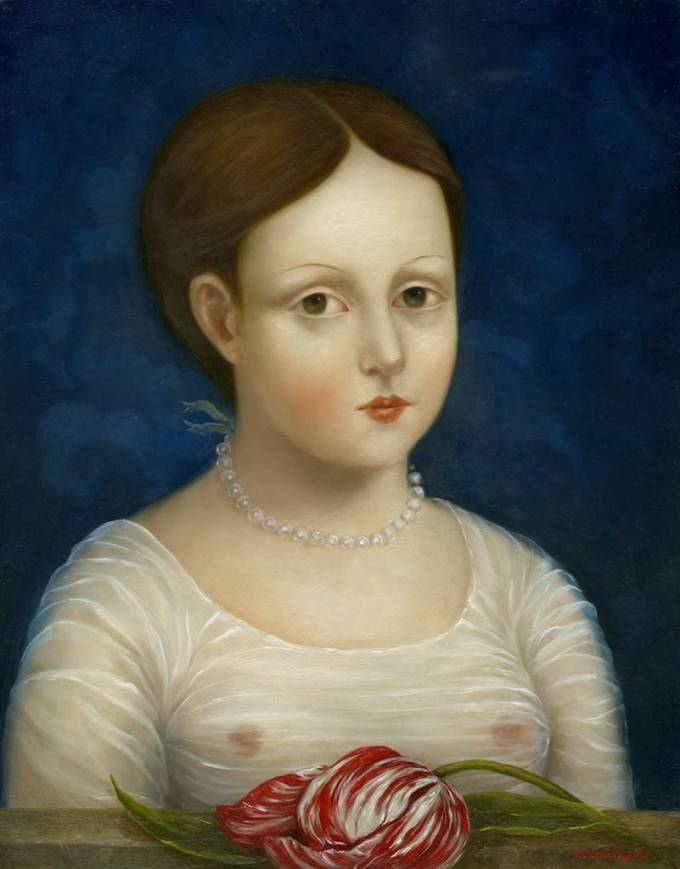 Woman with Pearls and Tulip