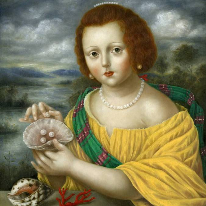 Girl with Pearls, Sea Shells and Coral