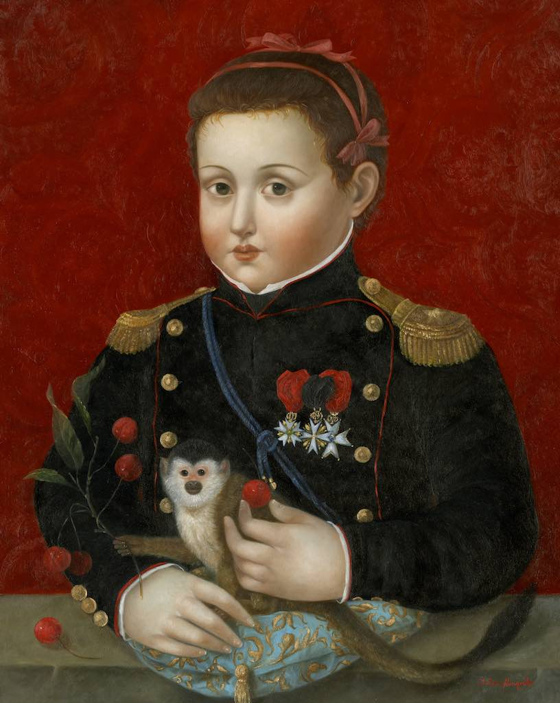 Soldier Girl with Ribbons, Monkey and Cherries