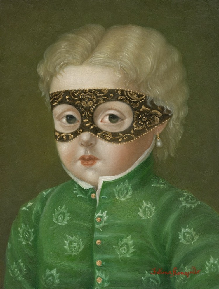 Girl with Pearl and Golden Mask