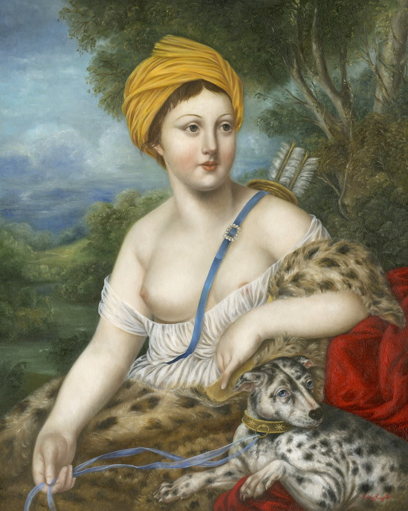 Huntress with Leopard Hound