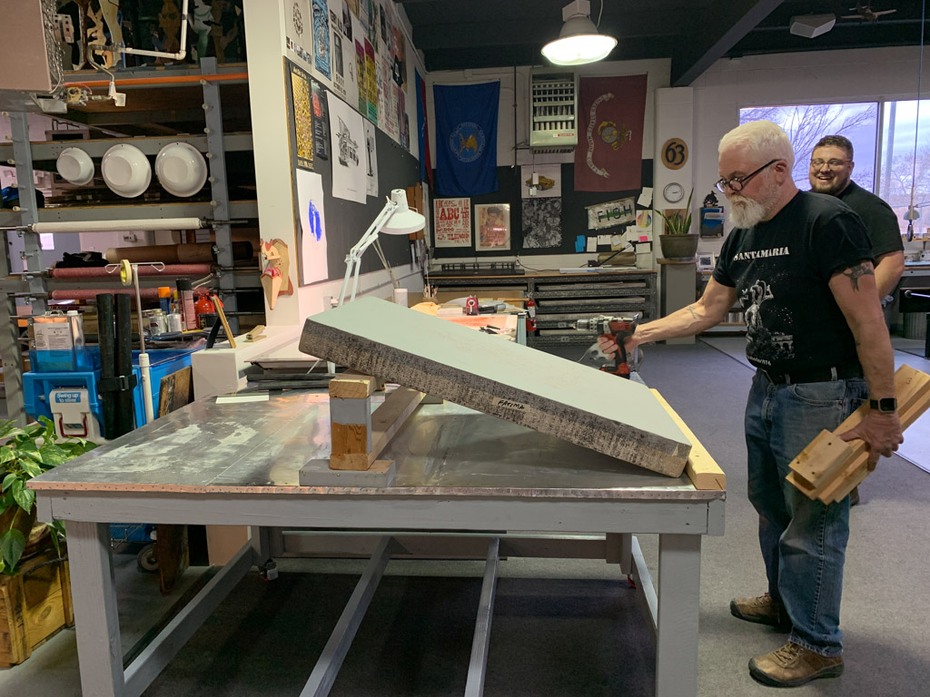 Master printer Steve Campbell and Joshua Orsburn preparing my workspace
